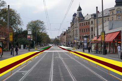 Auslaufende Haltestelle Bünaustraße auf der Kesselsdorfer Straße mit anschließendem Straßenabschnitt Wernerstraße -> Rudolf-Renner-Straße und weiter hoch